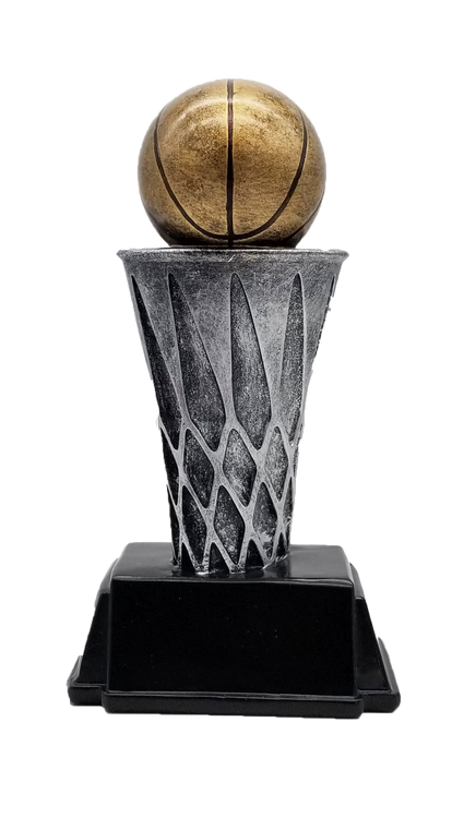 Basketball World Class Trophy   Engraved Basketball Tower Award - 6 and 8 Inch Tall