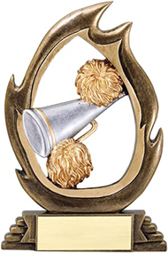 Cheerleading Flame Series Trophy | Engraving Spirit Award - 7.25 Inch Tall