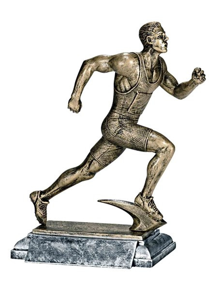 Track Runner Trophy - Male / Engraved Sprinter Award - 8 Inch Tall