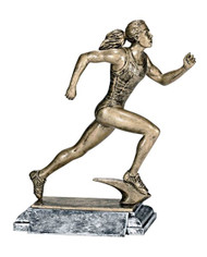 Track Runner Trophy - Female / Engraved Sprinter Award - 8 Inch Tall
