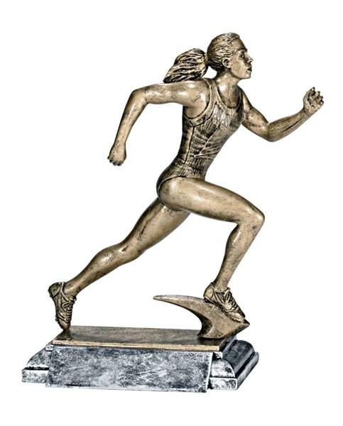 Track Runner Trophy - Female / Engraved Sprinter Award - 8 Inch Tall