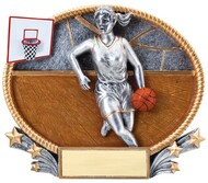 Basketball 3-D Trophy - Female | Engraved Girls Basketball Award - 7 x 5.5 Inch - Clearance