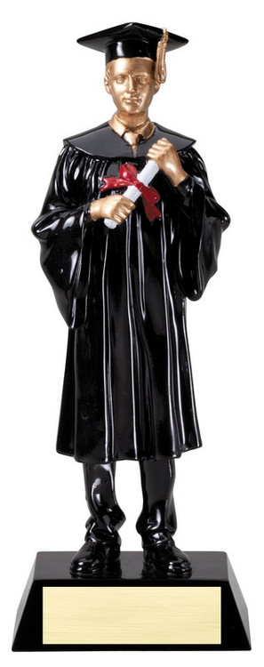 Graduate Trophy - Male | Engraved Male Graduation Award - 9 Inch Tall - Clearance