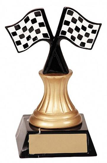 Racing Checkered Flag Trophy | Engraved Golden Wheel Award - 5.5 Inch Tall - Clearance