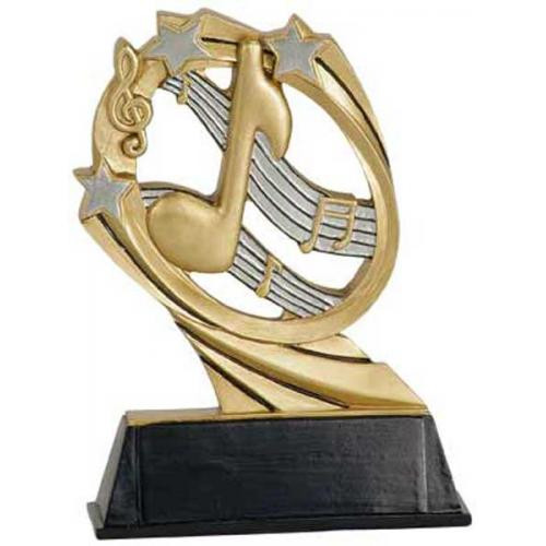 Music Cosmic Resin Trophy   Engraved Music Note Award - 5.5 Inch Tall - Clearance