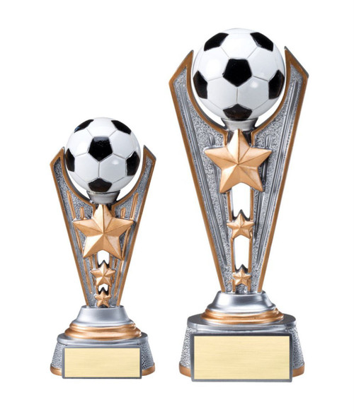 Soccer Resin Victory Trophy | Engraved Futbol Award - 6.75 & 8.25 Inch Tall - Clearance