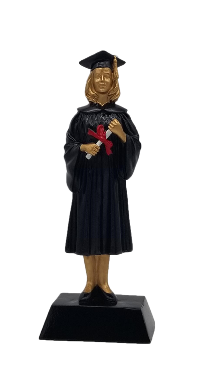 Graduate Trophy - Female | Engraved Female Graduation Award - 9 Inch Tall - Clearance