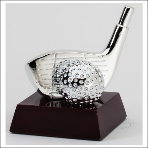 Golf Silver Driver and Ball Trophy | Engraved Golf Driver Award - 4.5 Inch Tall