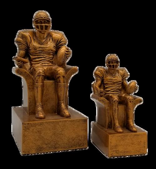 Fantasy Football Armchair Quarterback Trophy - Engraved Vintage Gold FFL Award - 6 or 9 Inch Tall