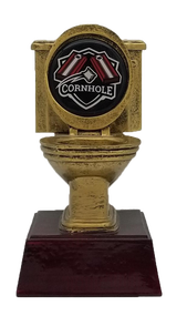 Cornhole Gold Toilet Bowl Trophy | Engraved Golden Throne Last Place Shucker Award - 6 Inch Tall