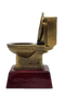 Golf Gold Toilet Bowl Trophy    Engraved Golden Throne Last Place Duffer Award - 6 Inch Tall
