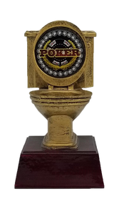 Poker Gold Toilet Bowl Trophy | Engraved Last Place Card Game Award - 6 Inch Tall