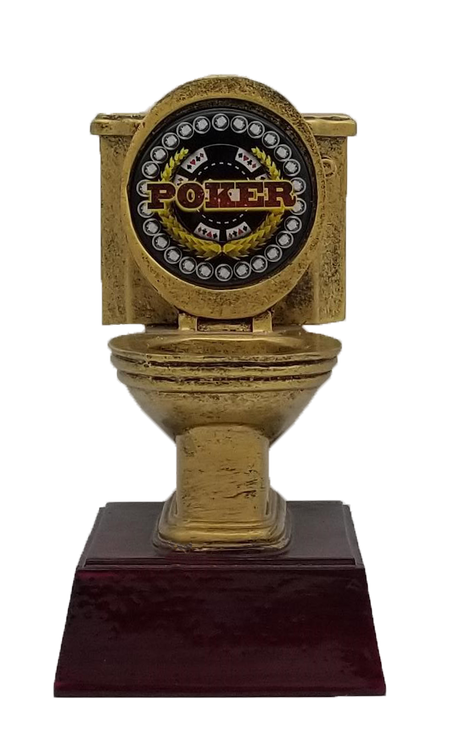 Poker Gold Toilet Bowl Trophy   Engraved Last Place Card Game Award - 6 Inch Tall