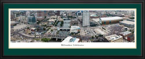 2021 Milwaukee Bucks Championship Parade Celebration Panoramic Print Deluxe Frame
