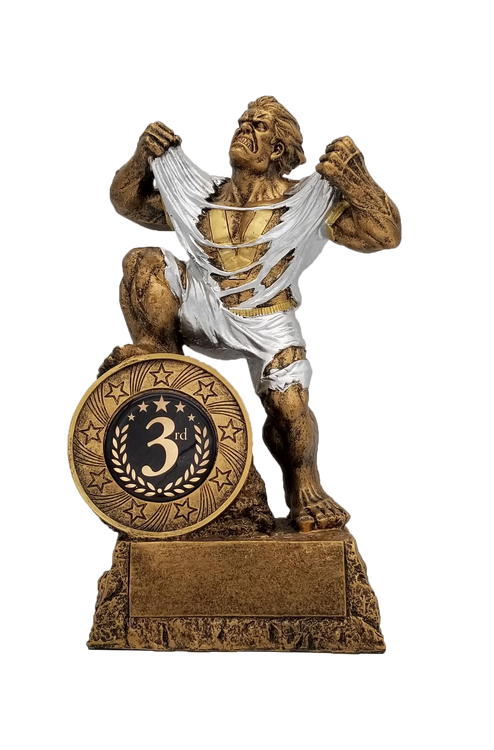 3rd Place LARGE Monster Trophy / Engraved Third Place GIANT Beast Award - 10 Inch Tall