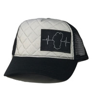 Trucker: Gray Quilted / Black Mesh (Black/Gray Patch)