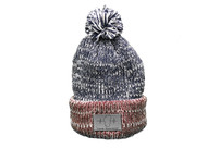 Blue/Red Marled Pom Beanie