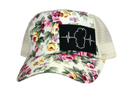 White Floral Print - White Mesh (Black/White Patch)