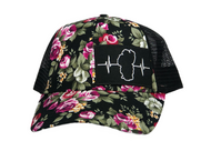 Black Floral Print - Black Mesh (Black/White Patch)