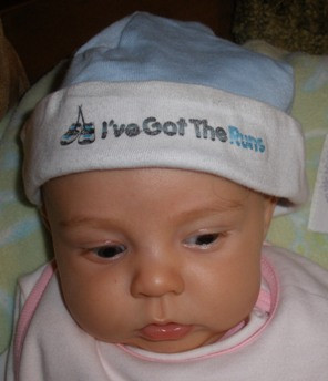 Runner Baby Beanie Hat - Baby Blue or Pink