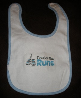 Runner Baby Bib - Baby Blue or Pink
