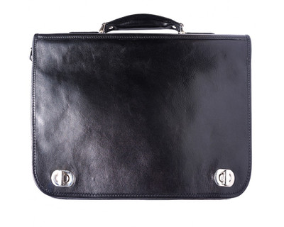 Black Italian Leather Briefcase