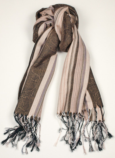 Ladies Brown Striped Scarf
