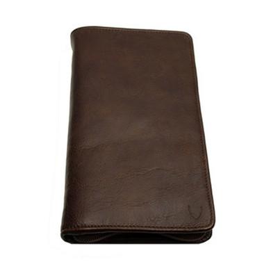 Brown Zip Around Travel Wallet