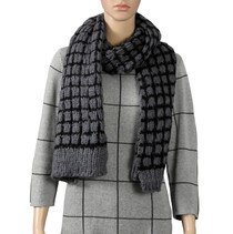 Grey And Black Knitted Scarf