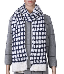 White And Navy Knitted Scarf