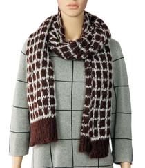 Plum And Grey Knitted Scarf