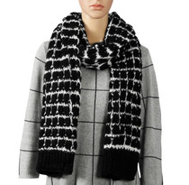 Black And White Knitted Scarf