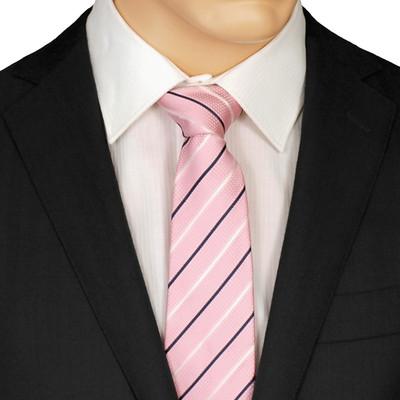 Slim Pink Striped Tie