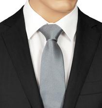 Silver Checked Tie