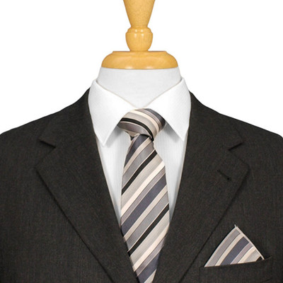 Black And Silver Striped Italian Silk Ties
