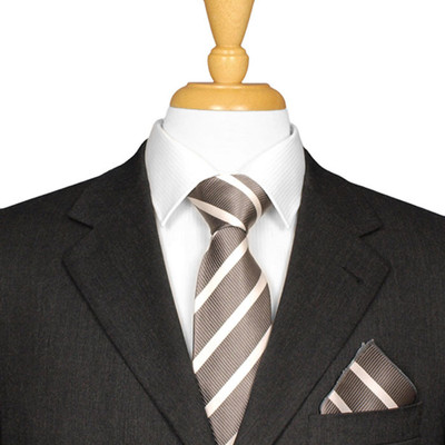 Charcoal And White Striped Tie
