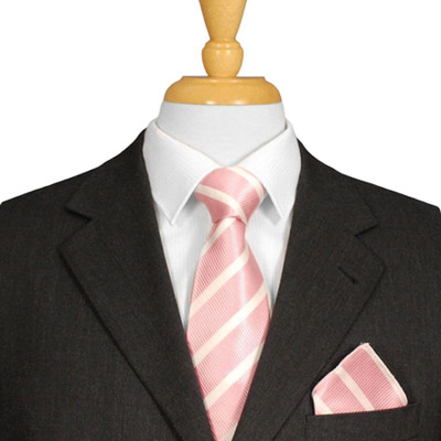 Pink And White Striped Tie
