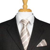 Silver And White Striped Tie