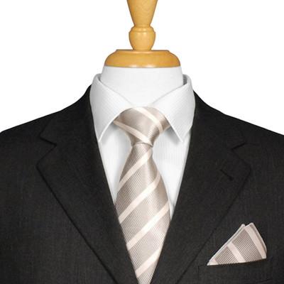 Silver And White Striped Tie
