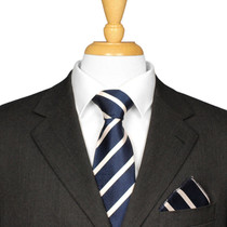 Navy And White Striped Tie