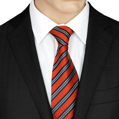 Orange Silk Striped Tie