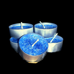 Organic Glow Palm Wax Blue Tea Light Candles Pack of 12