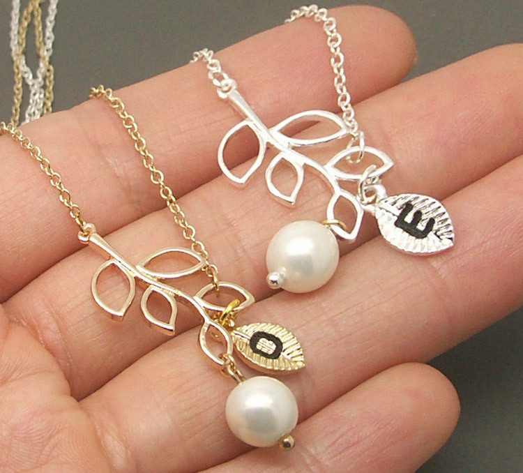 18c6efbe21f24 Lariat Branch Pearl Necklace, Leaf Necklace, Branch Necklace, Personalized  Initial Necklace, Freshwater Pearl Necklace, Branch Jewelry LRT05