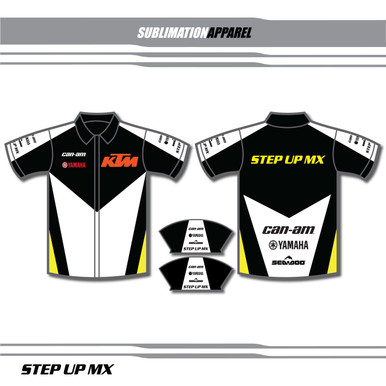 STYLE 1-Custom sublimation apparel is available in any color or logo combo that you prefer. Choose one of the predesigned polo selections and change your colors and logos for no additional charge. Want something completely custom then contact our design team for a look thats all your own.
