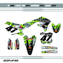 Kawasaki Camo graphic kit, order with your requested name, number and motor-sports sponsor logo's