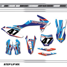 KTM Icon graphic kit, order with your requested name, number and motor-sports sponsor logoS