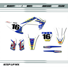 Husqvarna Velocity graphic kit, order with your requested name, number and motor-sports sponsor logo's
