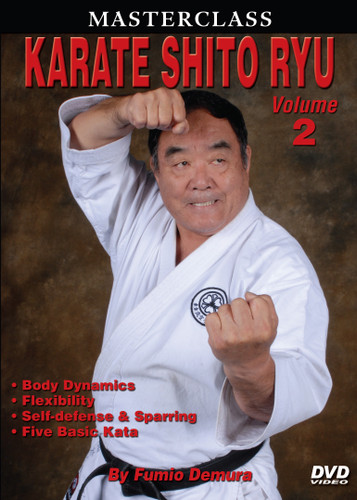 """MASTERSCLASS SHITO RYU KARATE """"Black Belt Hall of Fame"""" member Fumio Demura is an expert on traditional weapons and considered one of the best karate instructors in the world. This series is Sensei Demura´s legacy in the art of Shito Ryu Karate-do. Volume 2 includes body dynamics, flexibility training, self-defense training, blocks, stances, striking, leg techniques, sparring and five kata. (Approx. 60 min.)"""