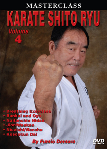 """MASTERSCLASS SHITO RYU KARATE Legendary """"Black Belt Hall of Fame"""" member Fumio Demura is an expert on traditional weapons and considered one of the best karate instructors in the world. This series is Sensei Demura´s legacy in the art of Shito Ryu Karate-do. Volume 4 includes special breathing exercises; sparring drills; unsoku, bunkai and oyo; and black-belt-level kata (naifanchin nidan, jion, niseishi [nijushi ho], wanshu [empi], kusankui dai [kosukun dai] and wankan). (Approx. 60 min.)"""