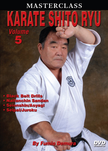 """MASTERSCLASS SHITO RYU KARATE Legendary """"Black Belt Hall of Fame"""" member Fumio Demura is an expert on traditional weapons and considered one of the best karate instructors in the world. This series is Sensei Demura´s legacy in the art of Shito Ryu Karate-do. Volume 5 includes how to develop bigger, better and more powerful kicking techniques; black-belt-level drills; self-defense techniques; and kata (naifanchin san dan, seienshin, aoyagi [men's version], aoyagi [women's version], seipai and juroku). (Approx. 60 min.)"""